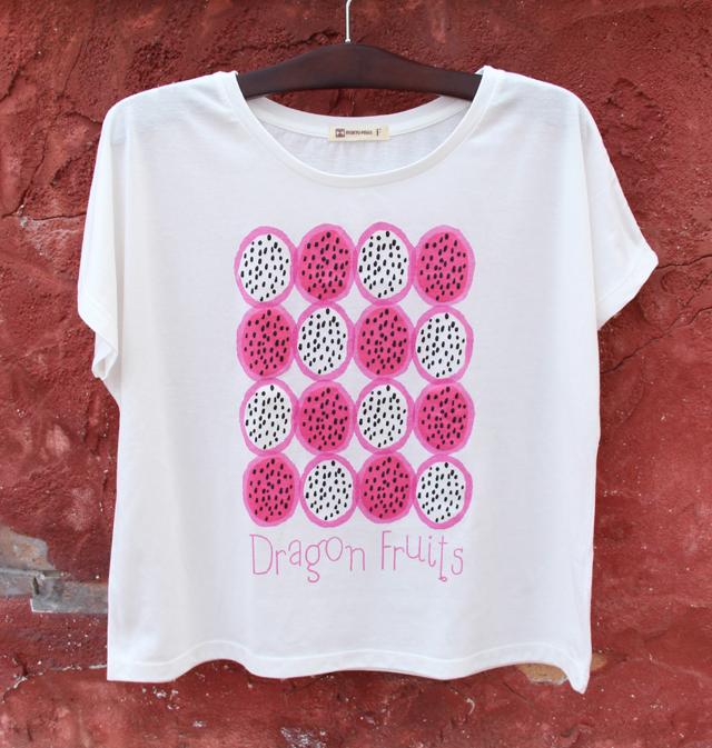 レディースワイドTeeシャツトロピカルドラゴンフルーツ